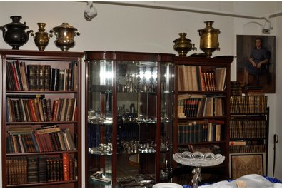 Silverware, book and samovars