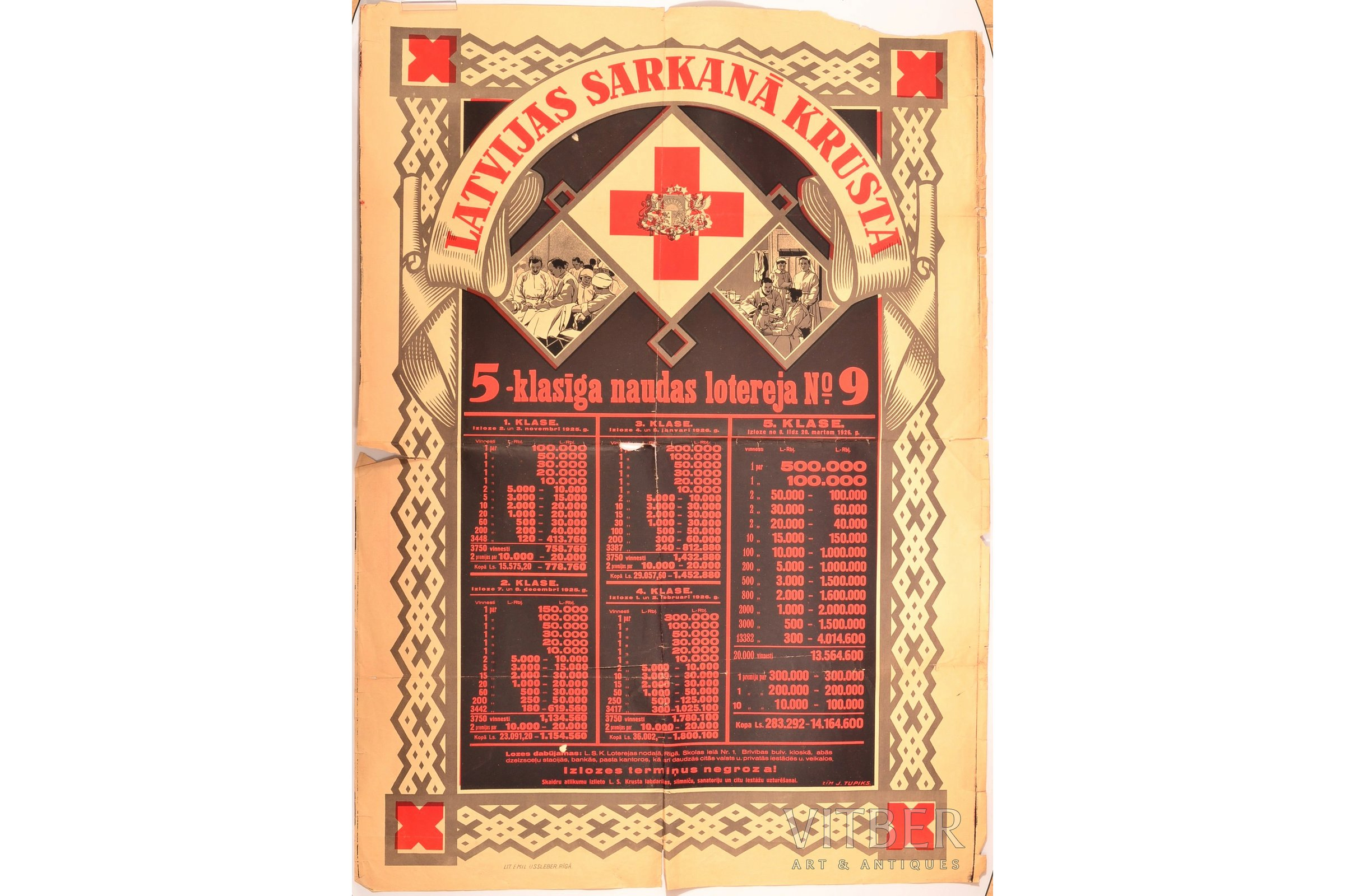 Lit 180 Par 200.Poster Latvian Red Cross Five Class Money Lottery 9