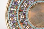 блюдце, серебро, 84 проба, перегородчатая эмаль, золочение, конец 19-го века, 129.60 г, Москва, Росс...