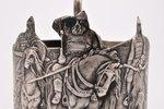 подстаканник, серебро, 875 проба, Три богатыря, чеканка, 1927-1946 г., 133.35 г, Москва, СССР, h = 1...