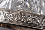 cigarette tray, silver, 875 standart, crystal, the 30ties of 20th cent., Latvia, h = 6.2 cm...