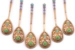 set of 6 spoons, silver, 84 standart, gilding, painted enamel, 1899-1908, 95.15 g, Moscow, Russia, 1...