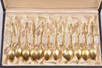 set of mocca spoons, silver, 12 pcs, enamel, gilding, the 20th cent., 114.10 g, Denmark, 9.4 cm, in...