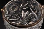 конфетница, серебро, стекло, 875 проба, 30-е годы 20го века, Латвия, Ø 11.5 см, h (без ручки) 5.8 см...
