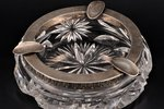 ashtray, silver, crystal, 875 standart, the 20-30ties of 20th cent., Latvia, Ø 15 cm, h 4.5 cm...