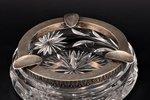 pelnu trauks, sudrabs, kristāls, 875 prove, 20 gs. 20-30tie gadi, Latvija, Ø 15 cm, h 4.5 cm...