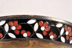 сахарница, серебро, 916 проба, золочение, перегородчатая эмаль, 1961 г., 135.55 г, Ленинградский юве...