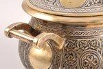 sugar-bowl, silver, 84 standart, gilding, niello enamel, the end of the 19th century, 253.25 g, by A...