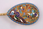 set of 6 spoons, silver, 84 standart, gilding, cloisonne enamel, 1908-1916, 142.40 g, Moscow, Russia...