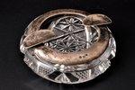 пепельница, серебро, 875 проба, хрусталь, 20-30е годы 20го века, Латвия, Ø 10 см...