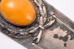 закладка для книги, серебро, 875 проба, с янтарной вставкой, 20-30е годы 20го века, 8.35 г, Латвия,...