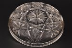 candy-bowl, silver, 875 standart, crystal, the 20-30ties of 20th cent., Latvia, Ø 14.5 cm...