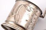glāzes turētājs, sudrabs, 84 prove, jūgendstils, māksliniecisks gravējums, 1908-1917 g., 114.30 g, I...