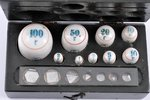 """porcelāna atsvaru komplekts, kastītē, rūpnīca """"Gosmetr"""", porcelāns, metāls, PSRS, 20 gs. 30-40tie ga..."""