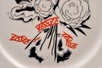 """decorative plate, """"Flowers"""", porcelain, sculpture's work, Rīga porcelain factory, handpainted by N...."""