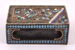 спичечница, серебро, 84 проба, перегородчатая эмаль, 1908-1917 г., 67.65 г, Москва, Российская импер...