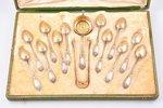 комплект столовых приборов, серебро, 950 проба, 12 чайных ложек, ситечко, щипчики для сахара, 266.60...