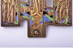cross, The Crucifixion of Christ, copper alloy, 3-color enamel, Russia, Moscow 1840-ties, 22.6 x 14....