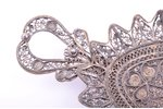 jewelry tray, silver, 830 standart, filigree, 35.10 g, 14 x 6.2 cm, import mark of Finland...