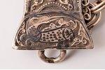пояс, серебро, 84 проба, чернение, кожа, 1887-1899 г., 441.05 г, Тбилиси, Российская империя, 73 (с...