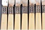 dessert knife set, silver, 950 standart, 12 pcs, total weight of items 444.45g, France, 20.6 cm...