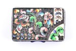 case, silver, 84 standart, cloisonne enamel, 1908-1917, 83.05 g, craftsman unknown, Moscow, Russia,...