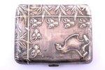 cigarette case, silver, 800 standart, 76.80 g, France, 8.5 x 7 x 1.7 cm...