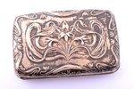 cigarette case, silver, 800 standart, Art-Nouveau, 72.40 g, 9.7 x 6.3 x 2.4 cm...