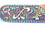 letter knife, silver, 84 standart, cloisonne enamel, wood, the border of the 19th and the 20th centu...