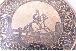 "case, silver, 900 standart, ""Horseman"", niello enamel, 81.35 g, Vienna, Austro-Hungary, Ø 7.1 cm..."