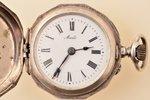 "pocket watch, ""Cylindre"", women, Switzerland, silver, 875 standart, 25.60 g, 4.3 x 3 cm, 23.5 mm, cr..."