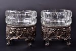 set of 2 cocottes, silver, 950 standart, glass, silver weight 69.90g, France, Ø 7.5 cm, h 8.4 cm...