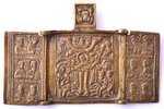 icon with foldable side flaps, Mother of God Joy of All Who Sorrow, copper alloy, Russia, the 19th c...