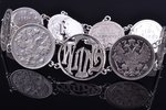 "a bracelet, ""Wilna"", made of 10 and 15 kopecks coins, silver billon (500), 500 standart, 21.85 g., t..."
