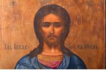 icon, Jesus Christ Pantocrator, cypress board, painting, guilding, Russia, 31 x 26.8 x 1.9 cm...