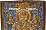 icon, Saint Nicholas the Wonderworker, copper alloy, 5-color enamel, Russia, the border of the 19th...
