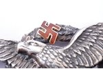 badge, Military Aviation School, silver, gold, Latvia, 20-30ies of 20th cent., 42.7 x 70.3 mm, 30.30...