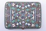 портсигар, серебро, 84 проба, перегородчатая эмаль, 1908-1917 г., 194.15 г, Казаков Семен, Москва, Р...