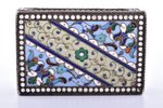 matches' holder, silver, 84 standart, cloisonne enamel, 1908-1917, 52.75 g, Moscow, Russia, 6.2 x 4....