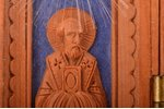 icon with foldable side flaps, The Crucifixion of Christ, Saint Nicholas the Wonderworker, Saint Ser...