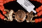 """a bracelet, coral """"Salmon"""", gold, 585 standart, 24.62 g., coral, the 20-30ties of 20th cent., Nether..."""