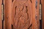 icon with foldable side flaps, Mother of God, Saint Nicholas the Wonderworker, Saint Sergius of Rado...