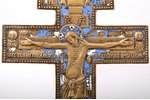 cross, The Crucifixion of Christ, copper alloy, 2-color enamel, Russia, the beginning of the 20th ce...