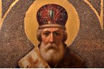icon, Saint Nicholas the Miracle-Worker, board, painting, guilding, Russia, the 19th cent., 34.3 x 2...