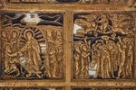 icon with foldable side flaps, Great Feasts, copper alloy, 2-color enamel, Russia, the border of the...
