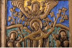 icon, Mother of God Joy of All Who Sorrow, copper alloy, 4-color enamel, by Rodion Khrustalev, Russi...