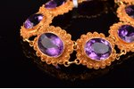 a bracelet, gold, 585 standart, 25,52 g., amethyst, bracelet length 18.5 cm...