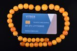beads, amber, diameter of beads 1 - 1.6 cm, 39.92 g., necklace lenghth 44 cm, clasp made of pressed...