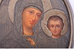 icon, Mother of God, silver, guilding, painted on zinc, engraving, 84 standart, Russia, 1880-1890, 7...