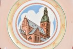 decorative plate, The Dome Cathedral, porcelain, sculpture's work, J.K. Jessen manufactory, Riga (La...